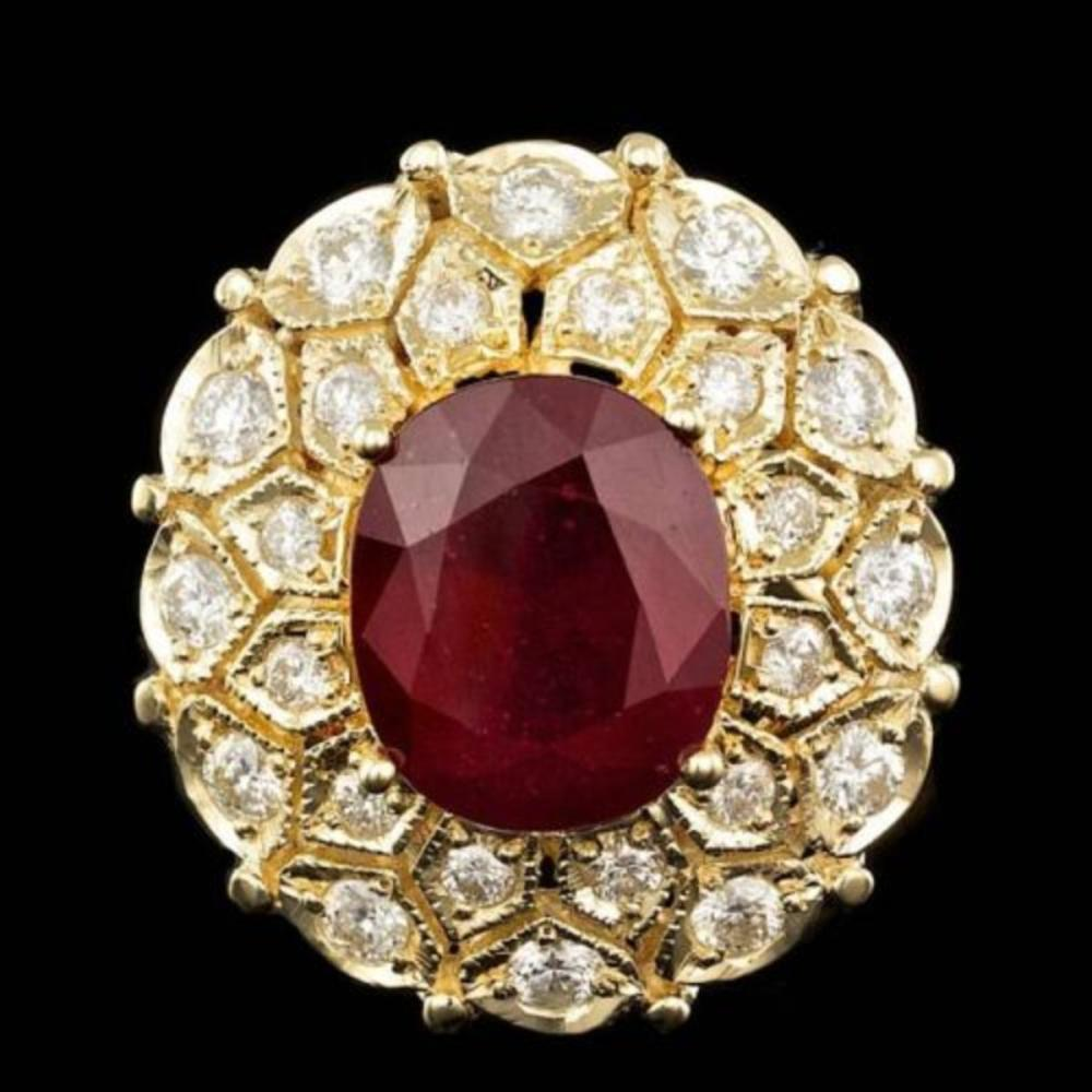 14K Yellow Gold 9.76ct Ruby and 1.64ct Diamond Ring