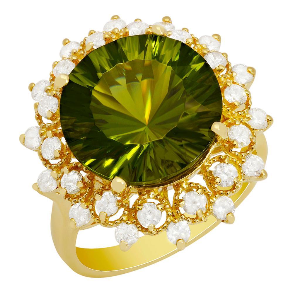 14k Yellow Gold 8.45ct Peridot 0.84ct Diamond Ring