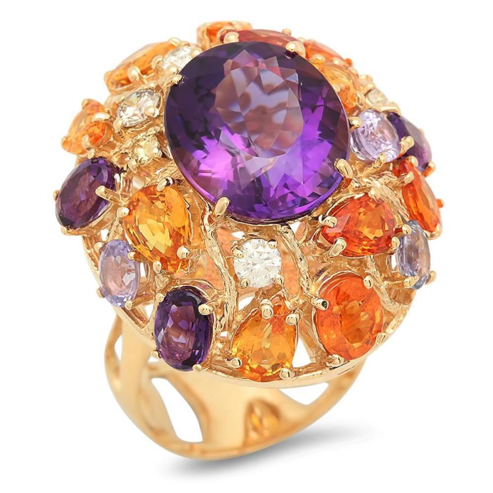 14K Yellow Gold 8.64ct Amethyst 7.42ct Sapphire and 0.47ct Diamond Ring