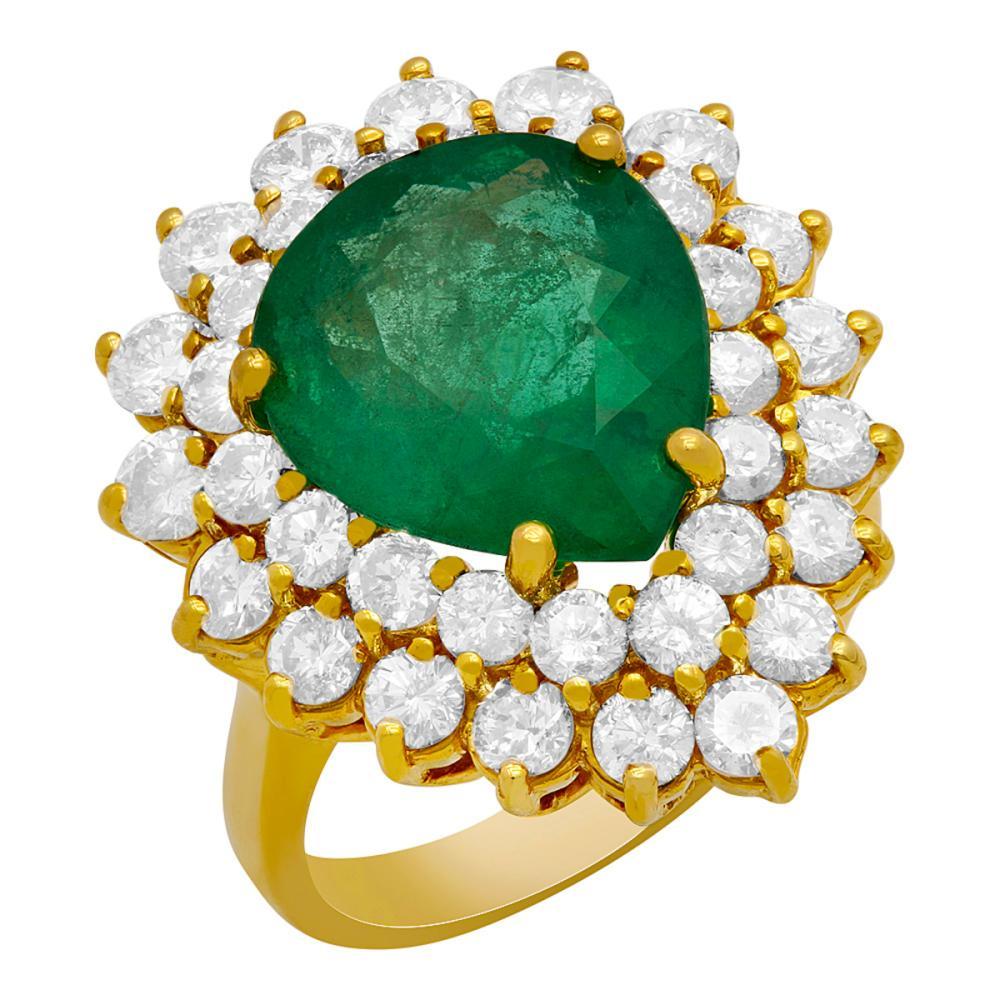 14k Yellow Gold 5.76ct Emerald 2.87ct Diamond Ring