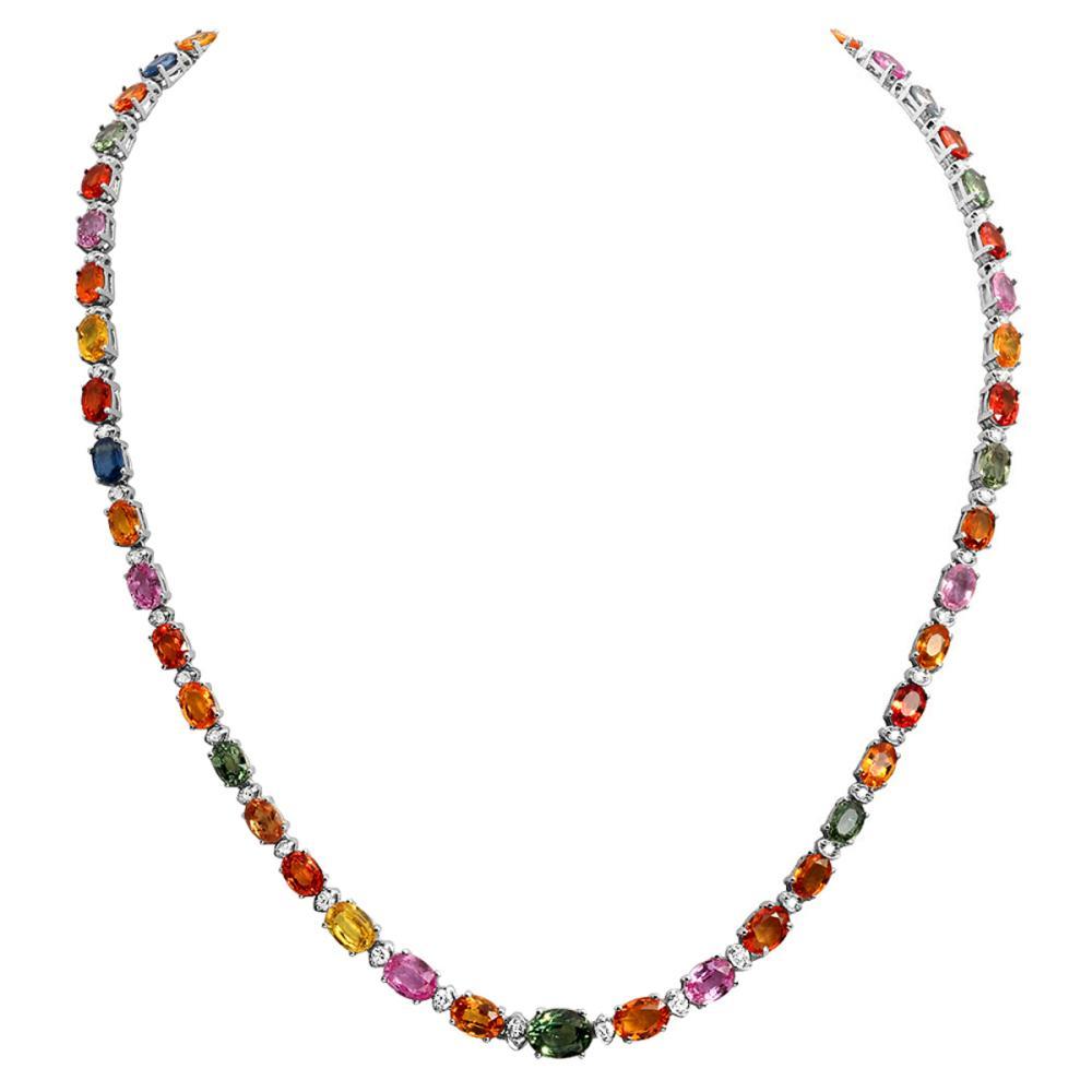 14k White Gold 30.38ct Sapphire 1.01ct Diamond Necklace