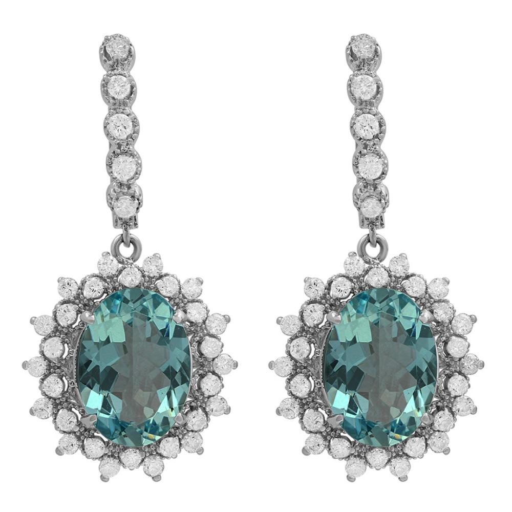 14k White Gold 12.65ct Aquamarine 1.49ct Diamond Earrings