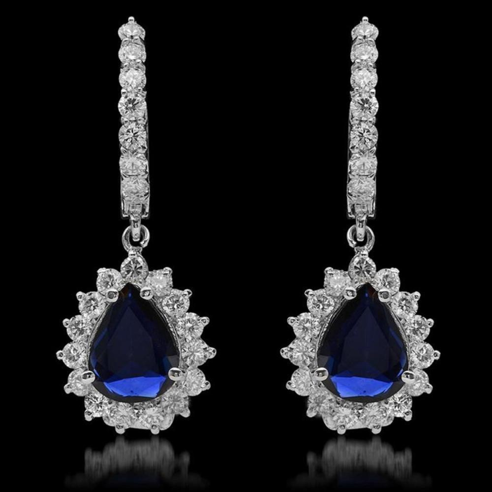 14K Gold 2.06ct Sapphire & 1.62ct Diamond Earrings
