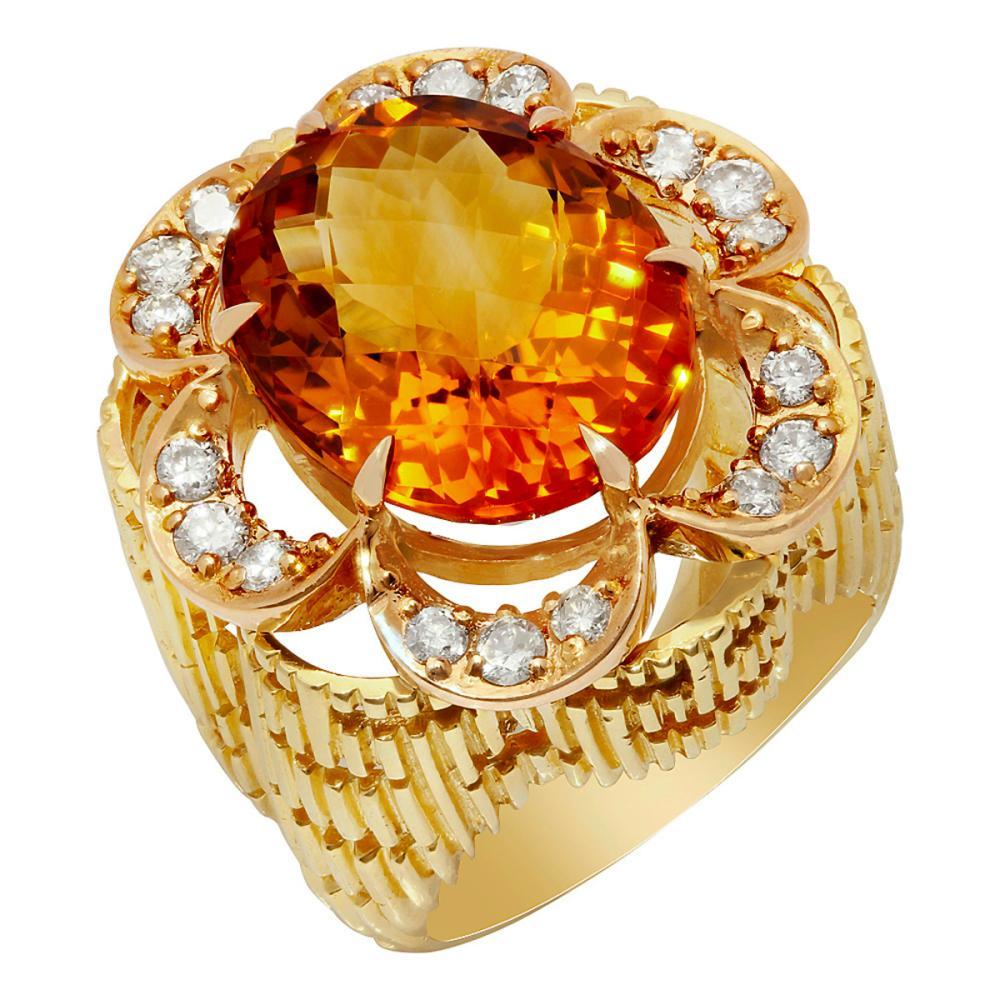 14k Yellow Gold 11.54ct Citrine 0.79ct Diamond Ring