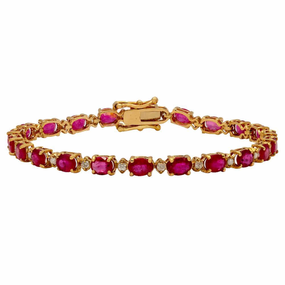 14k Yellow Gold 9.91ct Ruby 0.70ct Diamond Bracelet