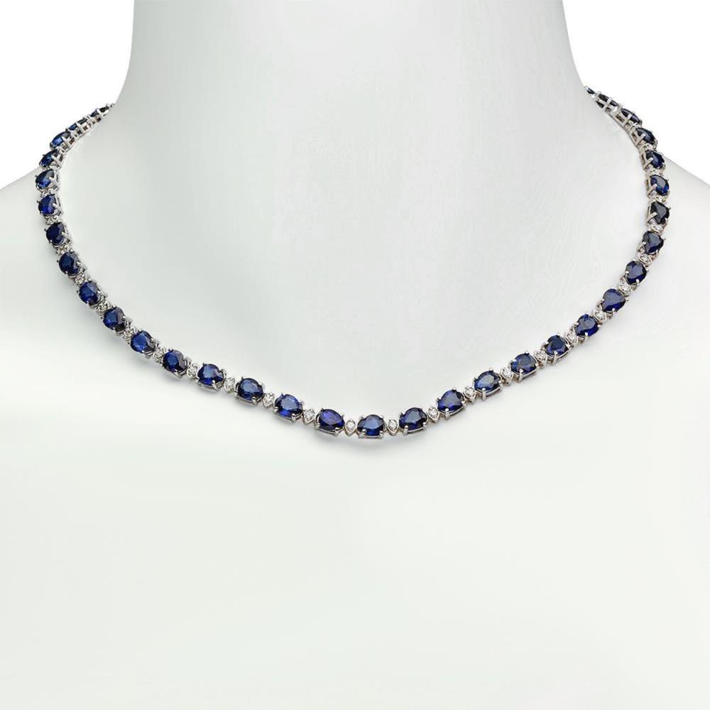 14K Gold 31.61ct Sapphire 1.49ct Diamond Necklace