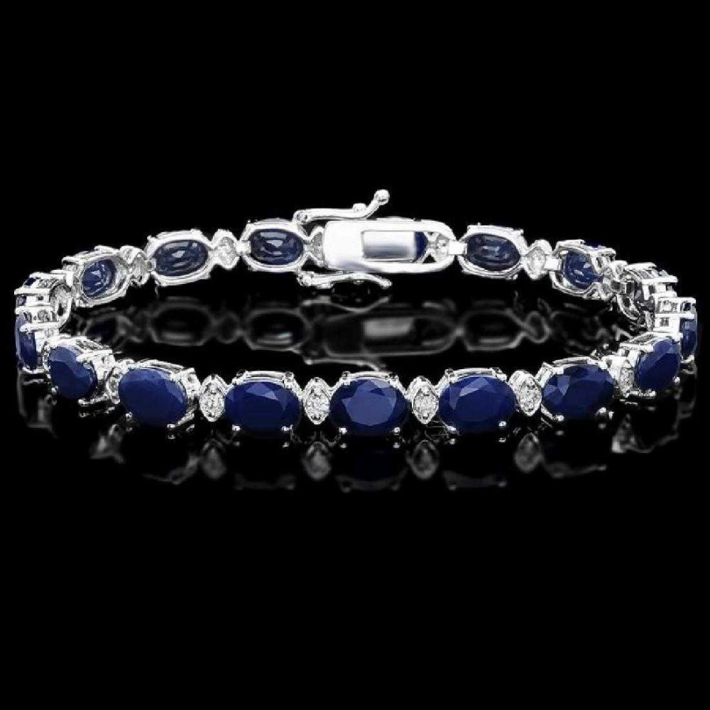 14K White Gold 23.38ct Sapphire and 0.68ct Diamond Bracelet