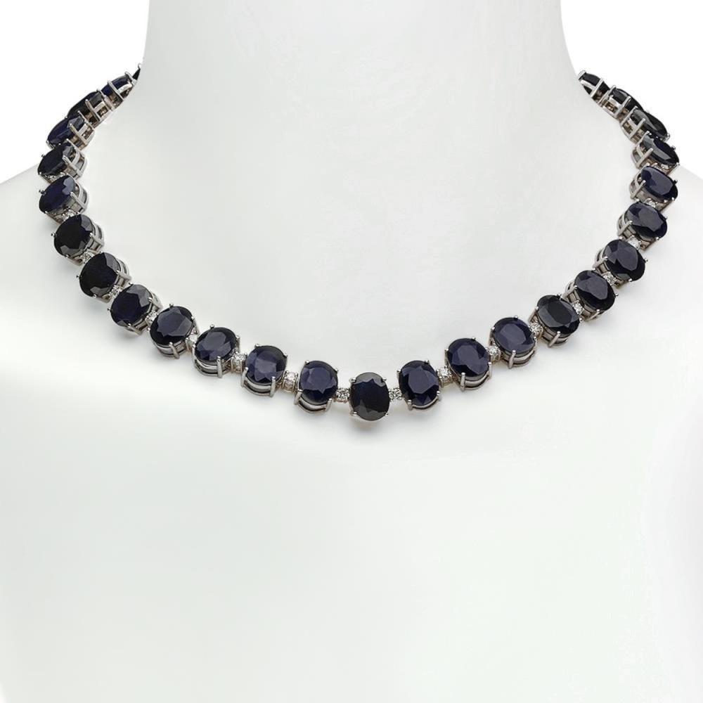 14K Gold 144.80ct Sapphire 4.20ct Diamond Necklace