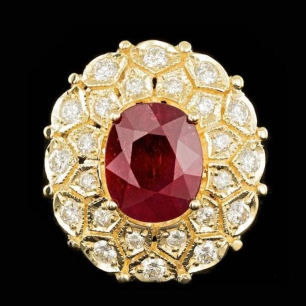 14K Yellow Gold 8.87ct Ruby and 1.67ct Diamond Ring
