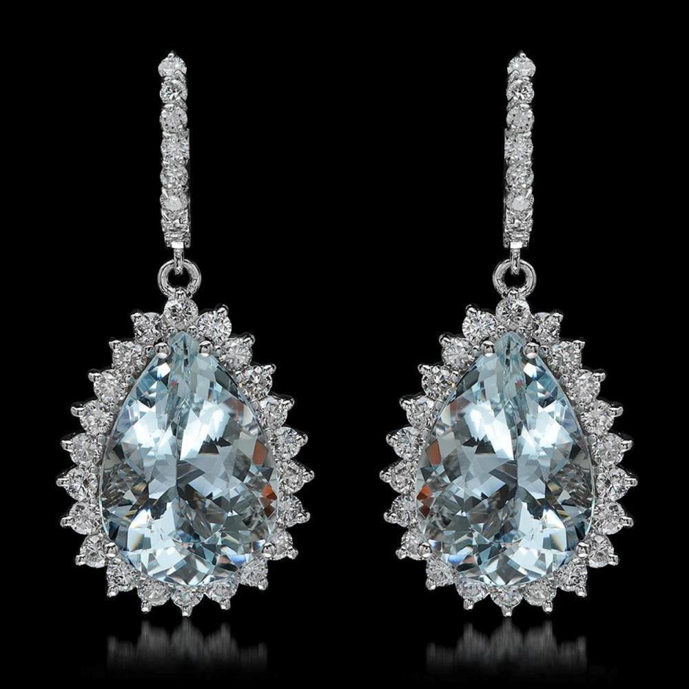14K Gold 21.62ct Aquamarine 3.40ct Diamond Earrings