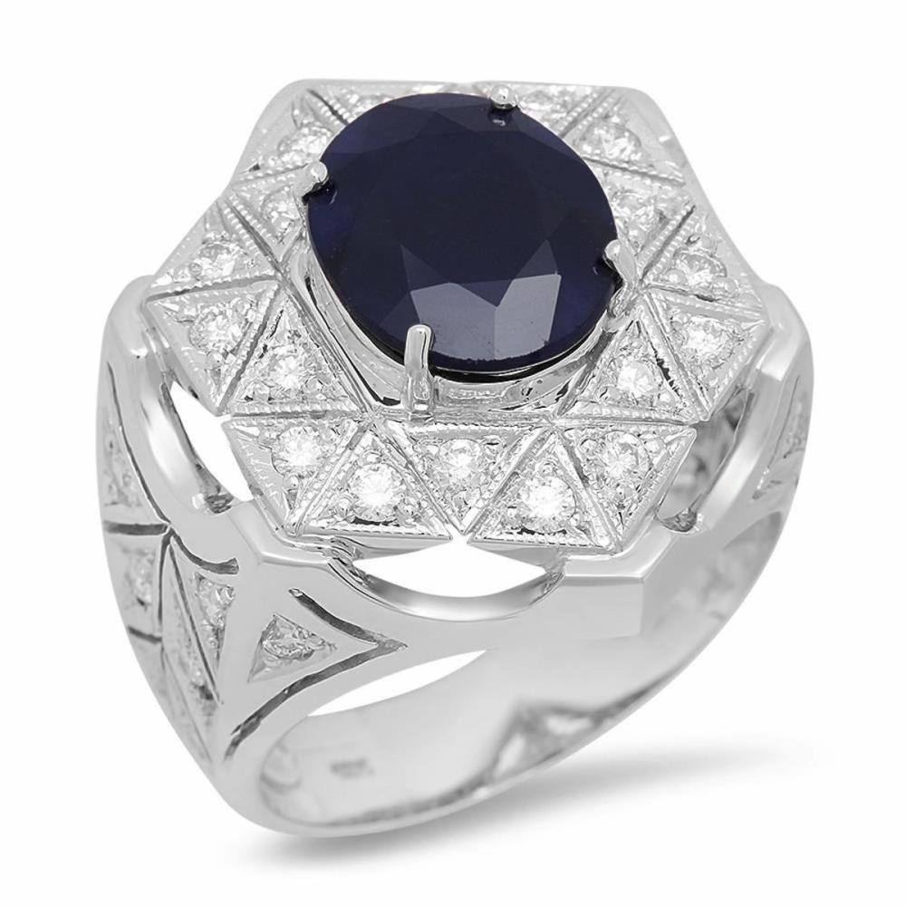 14K White Gold 5.19ct Sapphire and 1.09ct Diamond Ring