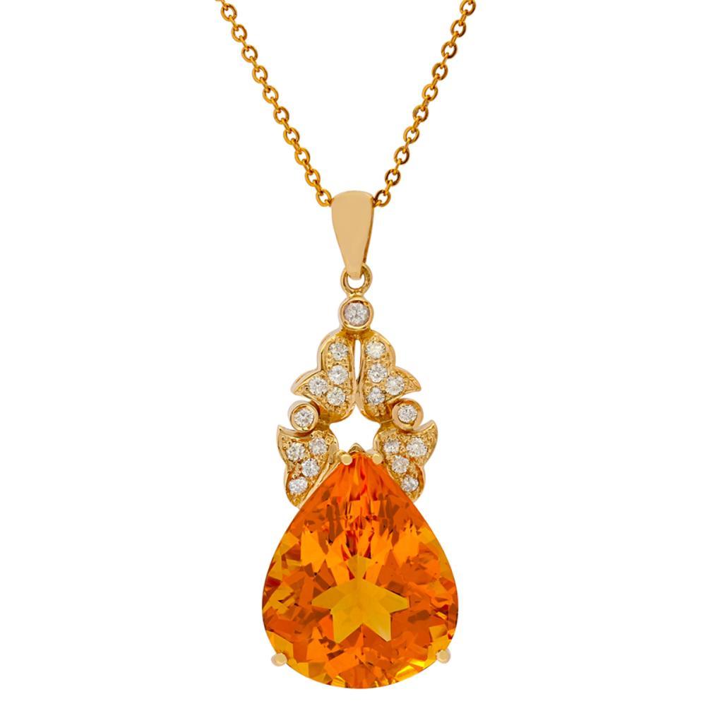 14k Yellow Gold 27.52ct Citrine 0.72ct Diamond Pendant