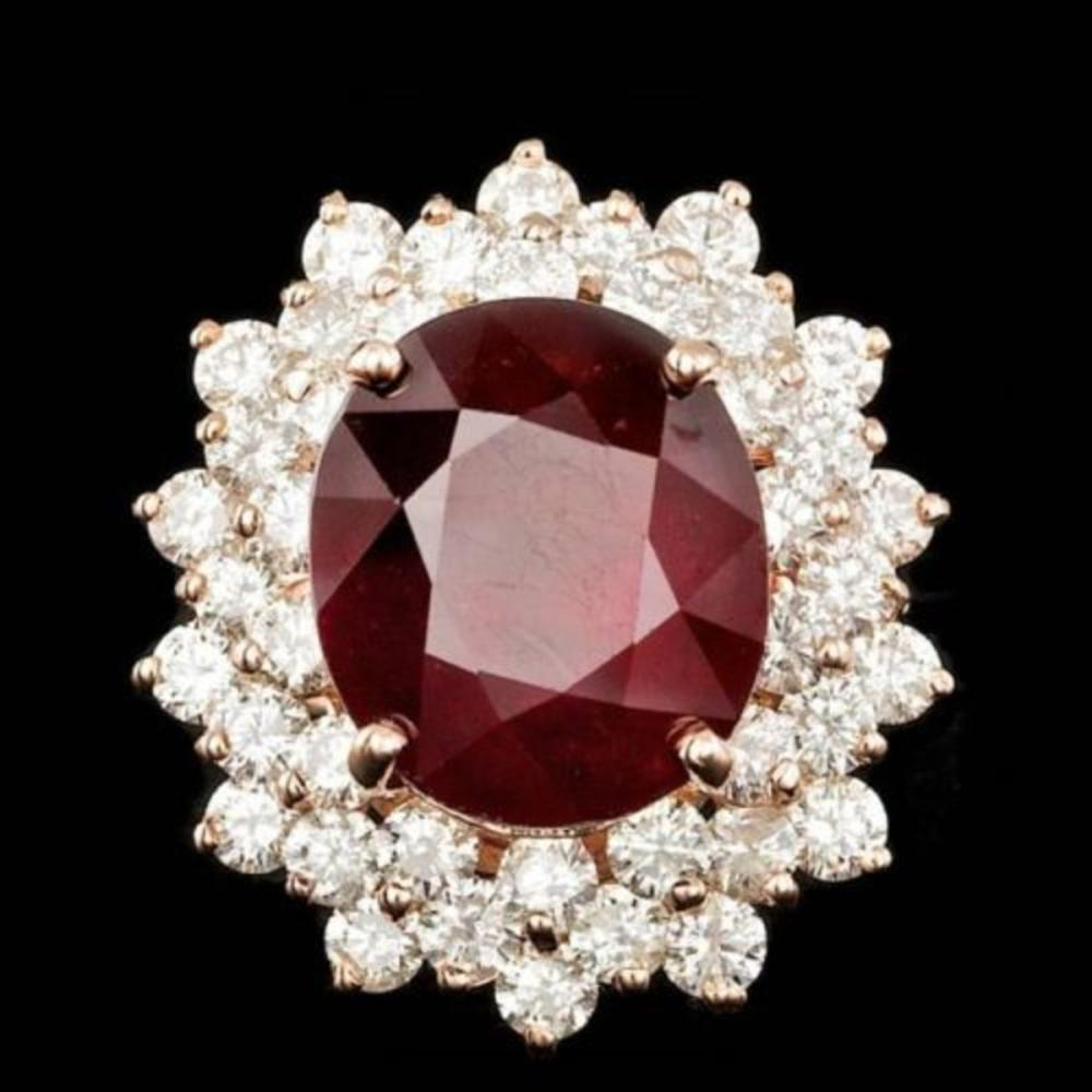 14K Rose Gold 13.13ct Ruby and 3.23ct Diamond Ring