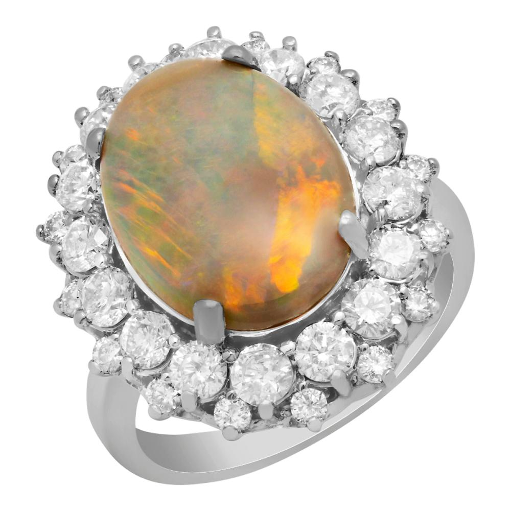 14k White Gold 3.78ct Opal 1.84ct Diamond Ring