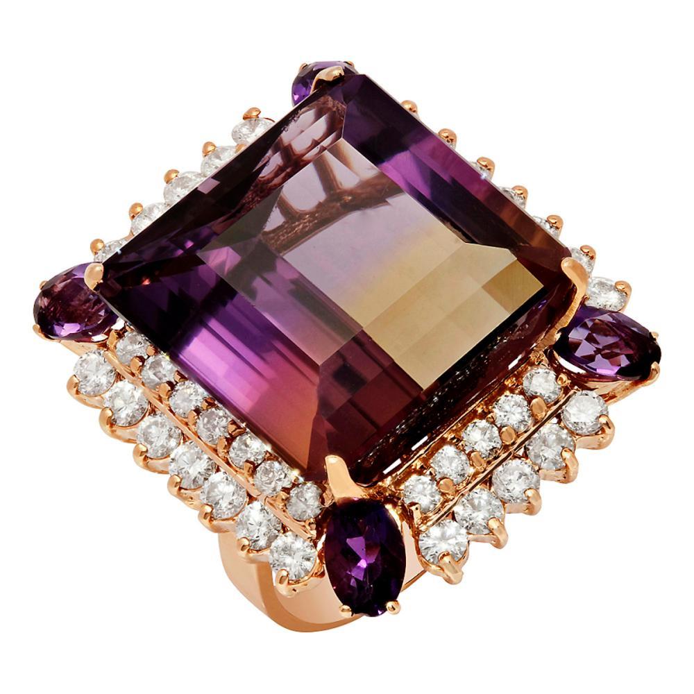 14k Rose Gold 28.30ct Ametrine 0.80ct Amethyst 2.14ct Diamond Ring