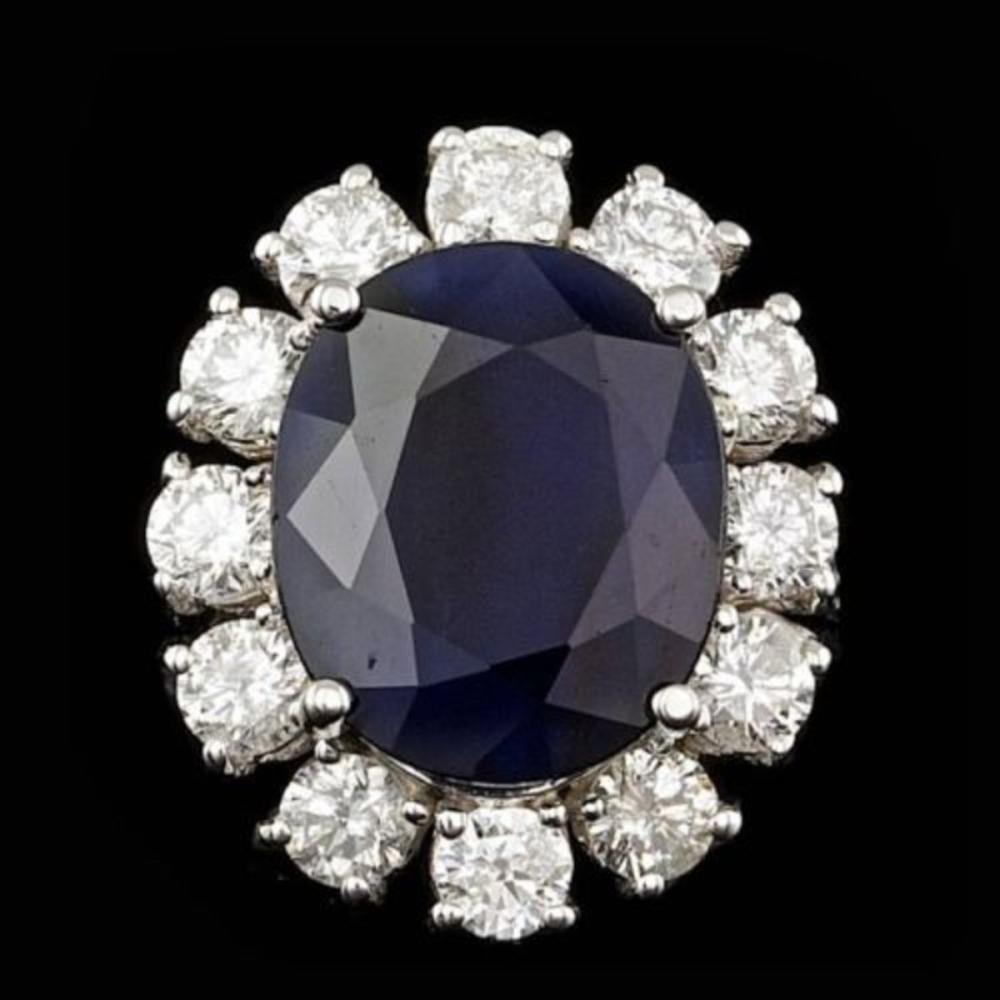 14K White Gold 8.19ct Sapphire and 1.72ct Diamond Ring