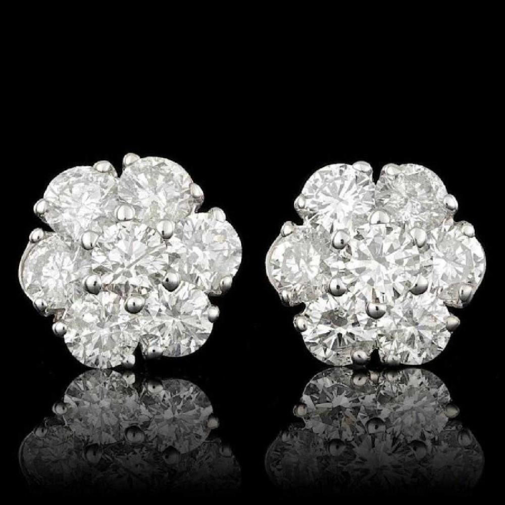 14K White Gold and 2.17ct Diamond Earrings