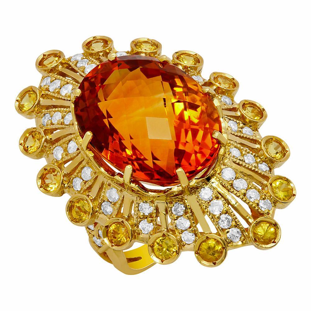 14k Yellow Gold 18.10ct & 0.80ct Citrine 1.13ct Diamond Ring