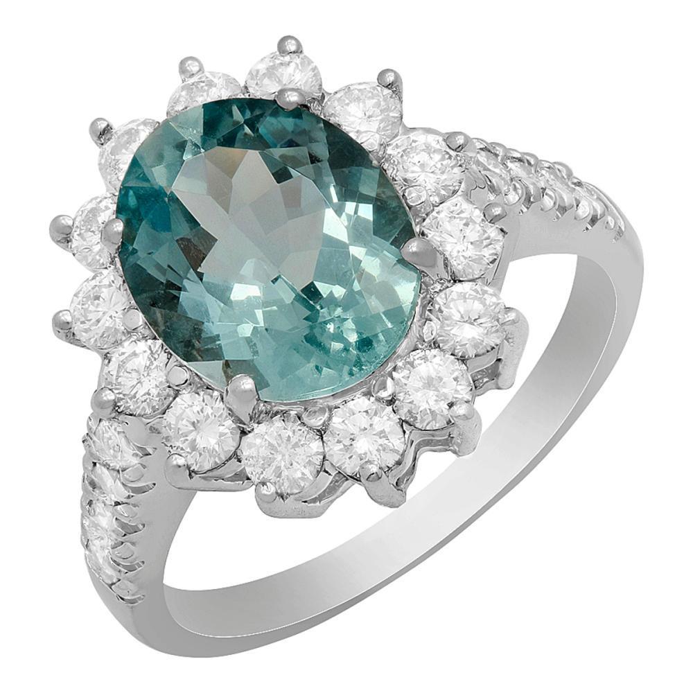 14k White Gold 2.71ct Aquamarine 1.20ct Diamond Ring