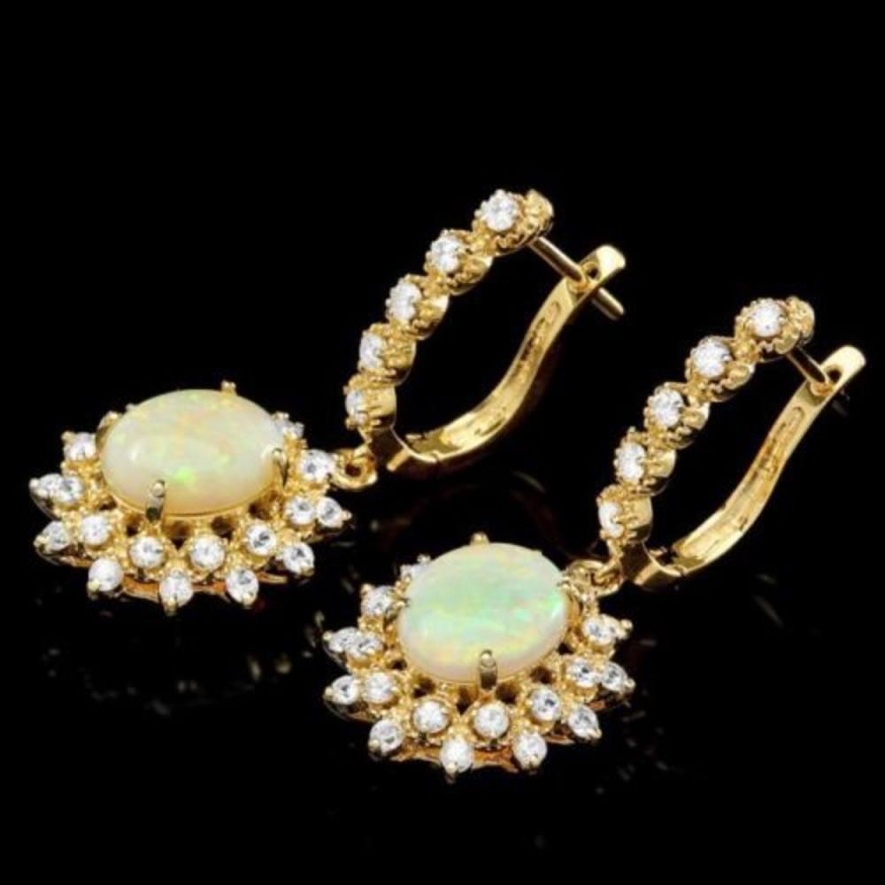14K Gold 3.16ct Opal 1.71ct Diamond Earrings