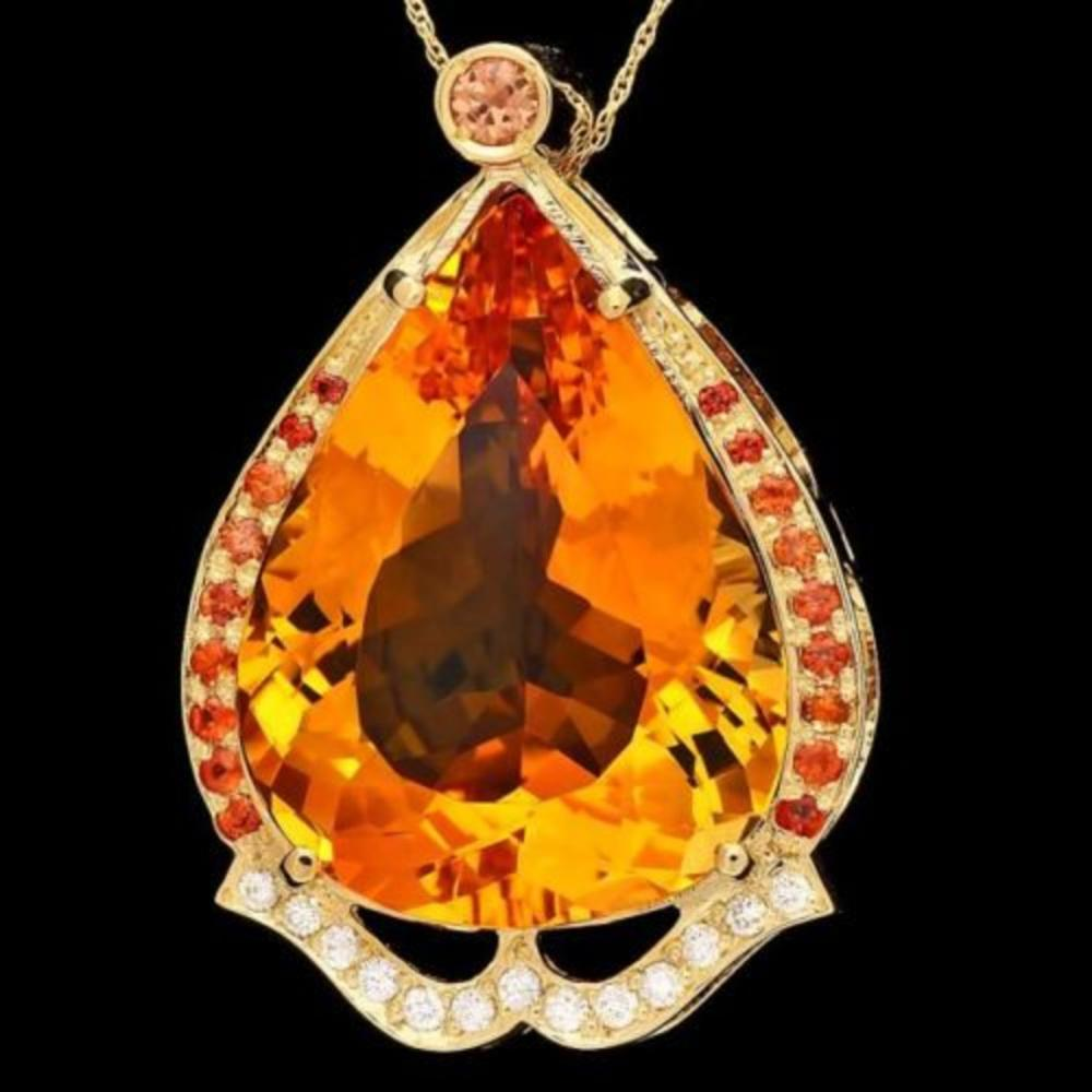 14K Gold 42.18ct Citrine 1.04ct Sapphire and 0.27ct Diamond Pendant