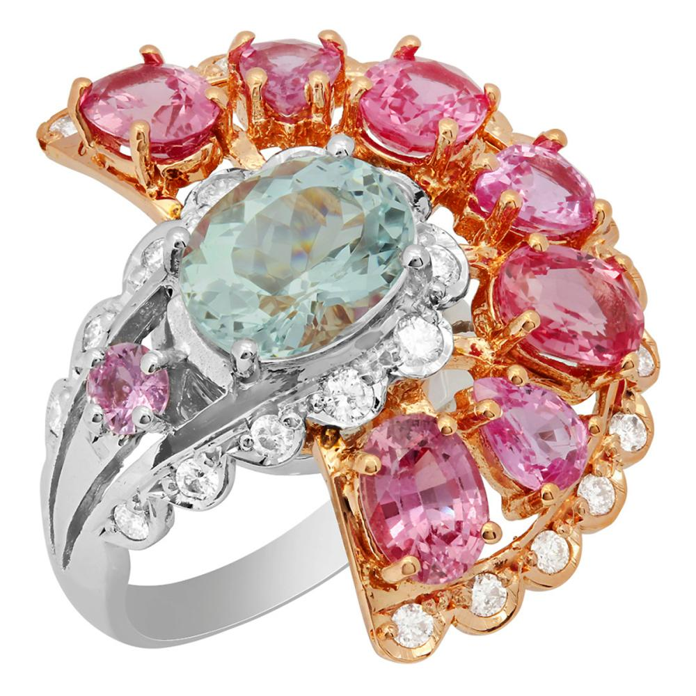 14k White & Rose Gold 2.45ct Aquamarine 5.59ct Pink Sapphire 0.82ct Diamond Ring