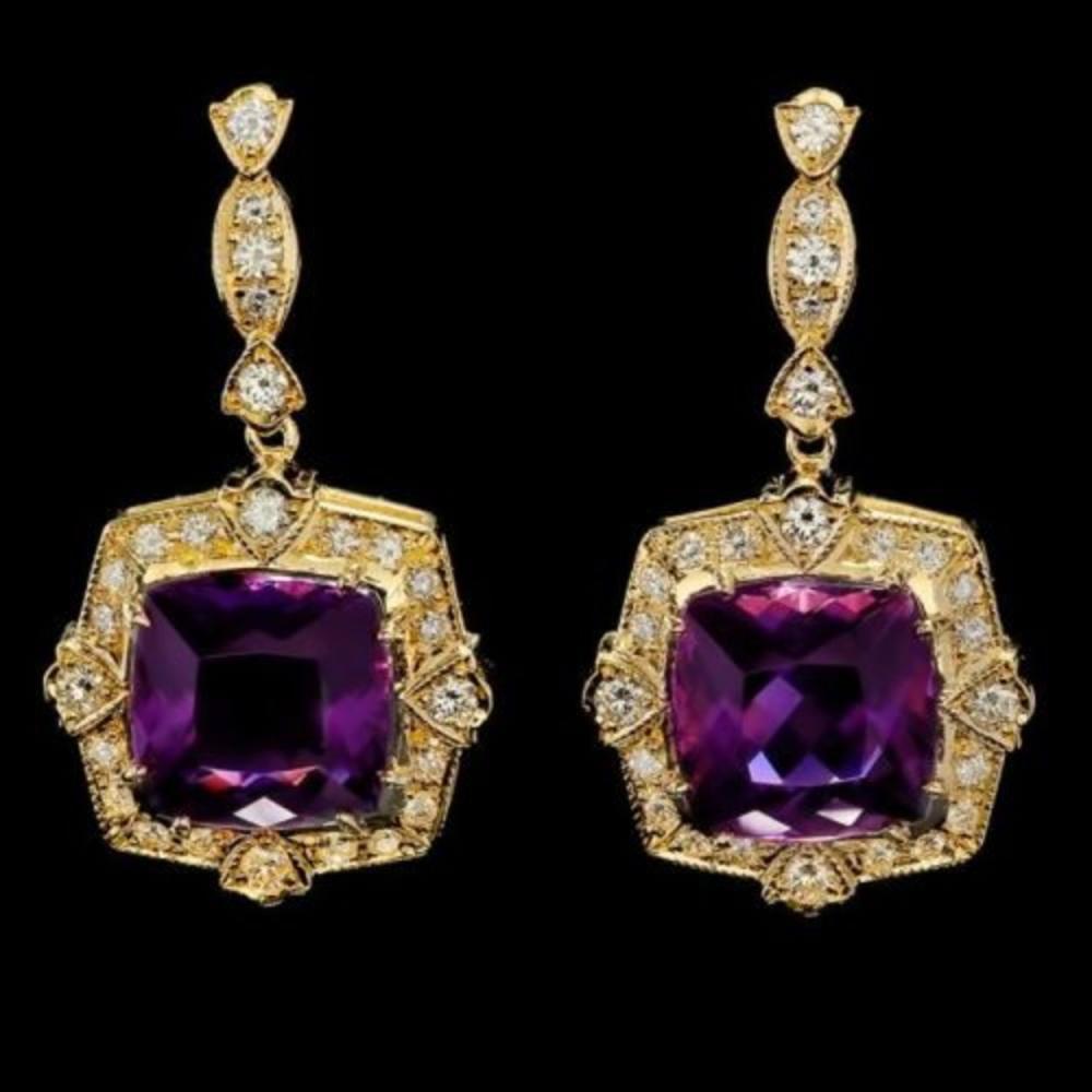 14k Gold 9.71ct Amethyst 2.03ct Diamond Earrings