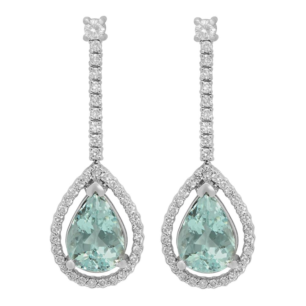 14k White Gold 6.95ct Aquamarine 0.88ct Diamond Earrings