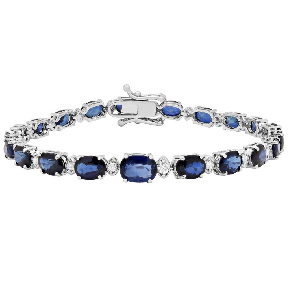14k White Gold 13.63ct Sapphire 0.57ct Diamond Bracelet