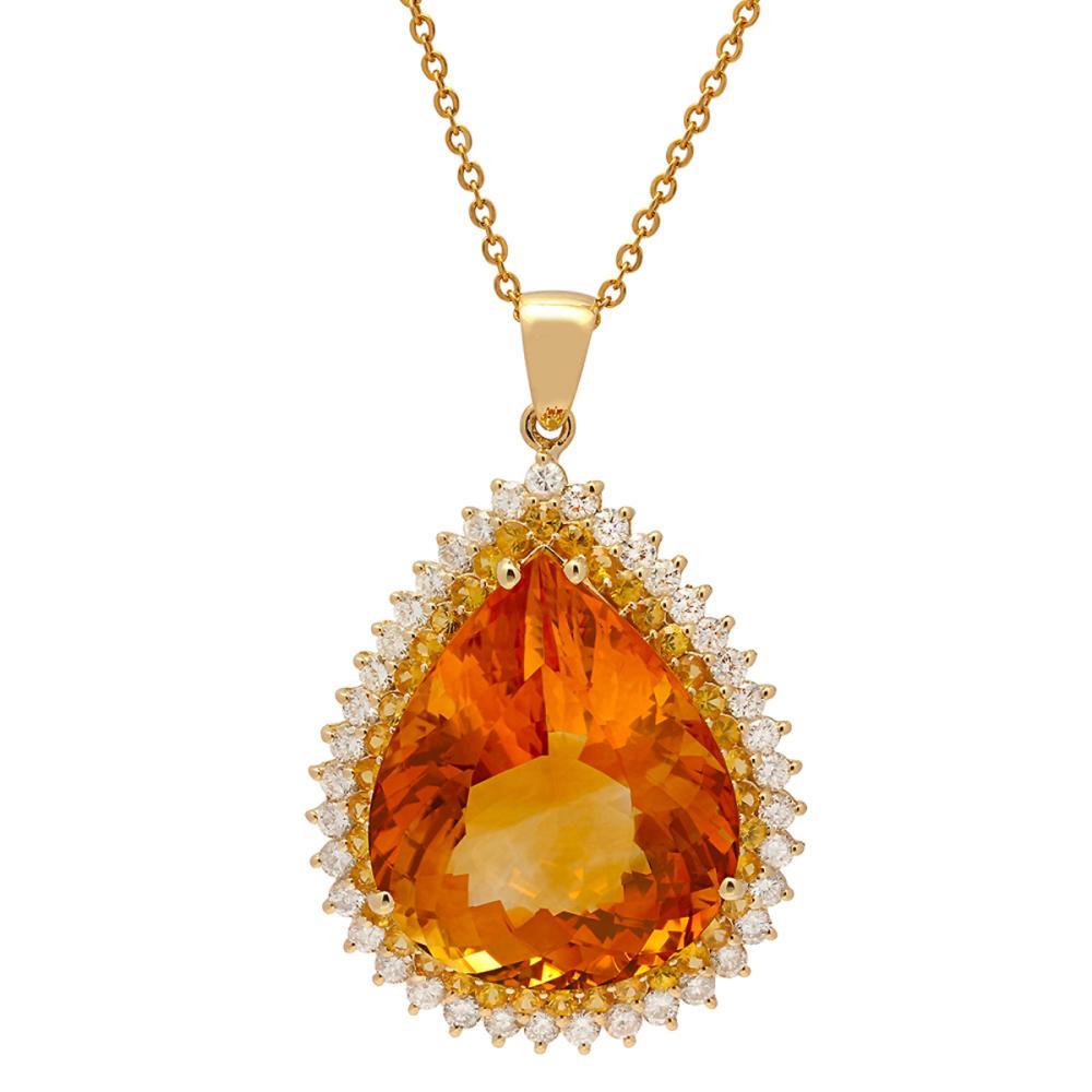 14k Yellow Gold 37.73ct Citrine 1.67ct Yellow Sapphire 1.98ct Diamond Pendant