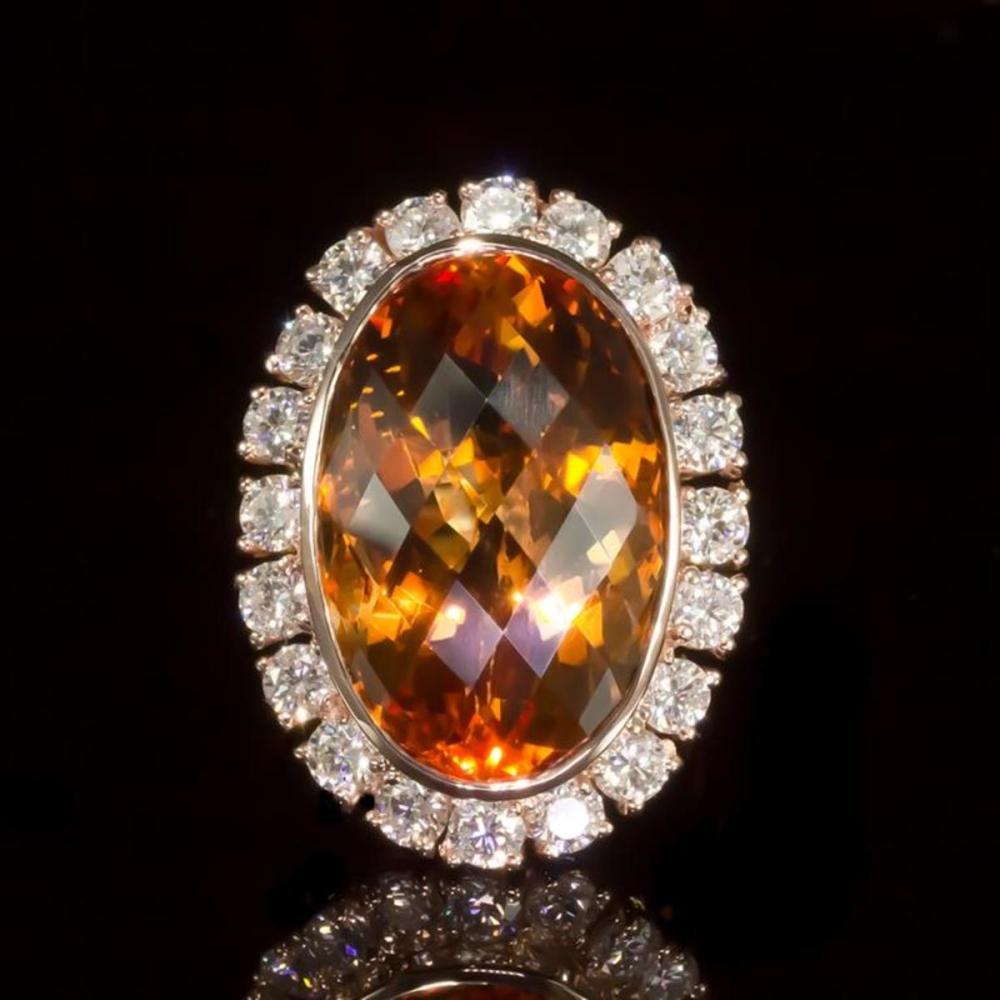 14K Rose Gold 19.90ct Citrine and 2.17ct Diamond Ring