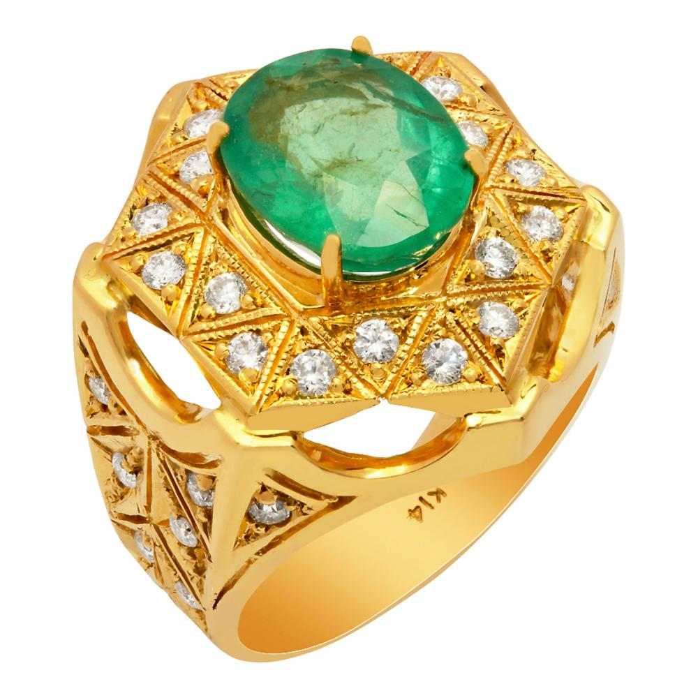 14k Yellow Gold 4.79ct Emerald 1.10ct Diamond Ring