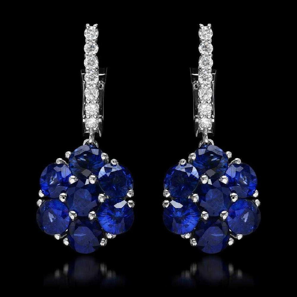 14K White Gold 5.72ct Sapphire and 0.45ct Diamond Earrings
