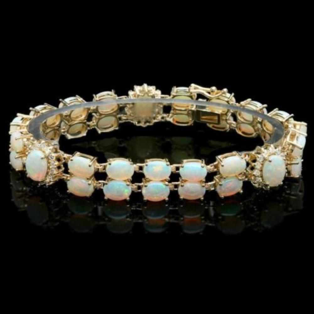 14K Gold 17.65ct Opal 1.13ct Diamond Bracelet