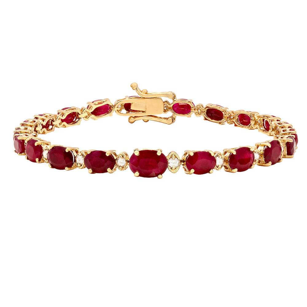 14k Yellow Gold 15.13ct Ruby 0.54ct Diamond Bracelet