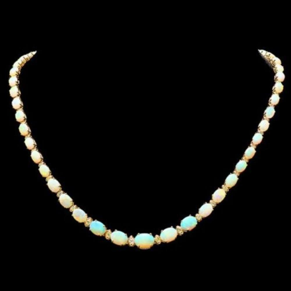 14K Yellow Gold 18.87ct Opal and 1.09ct Diamond Necklace