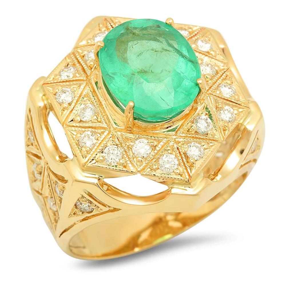 14K Yellow Gold 5.00ct Emerald and 1.13ct Diamond Ring