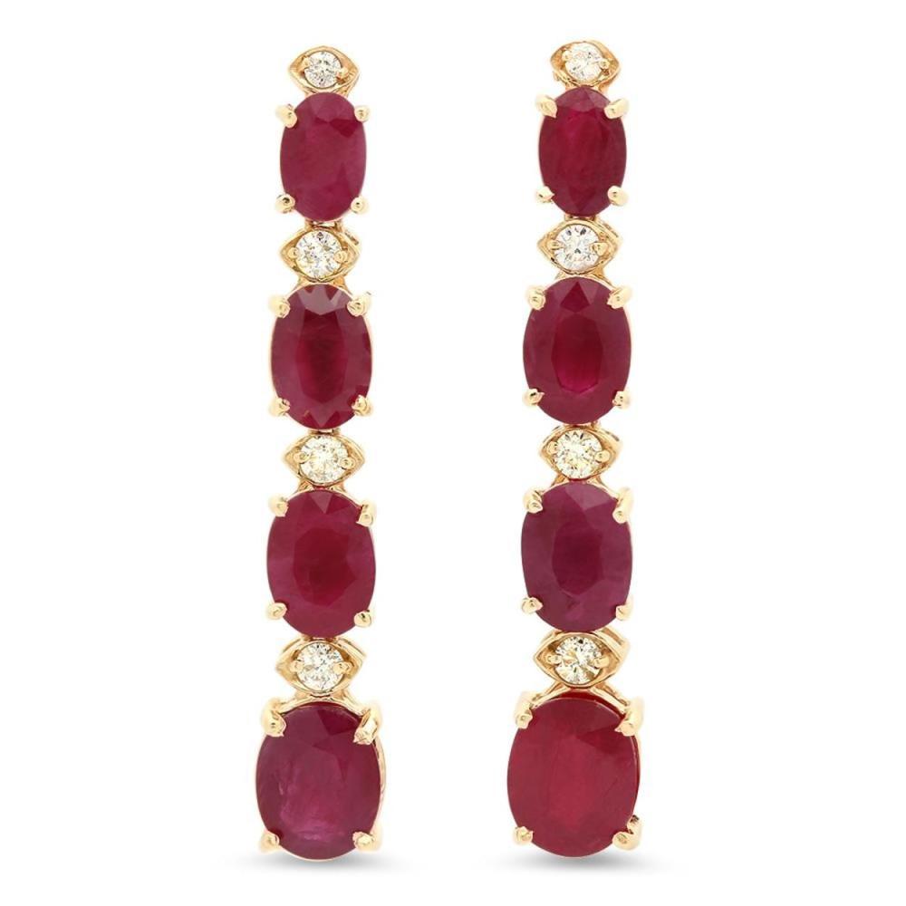 14K Gold 9.94ct Ruby 0.40cts Diamond Earrings