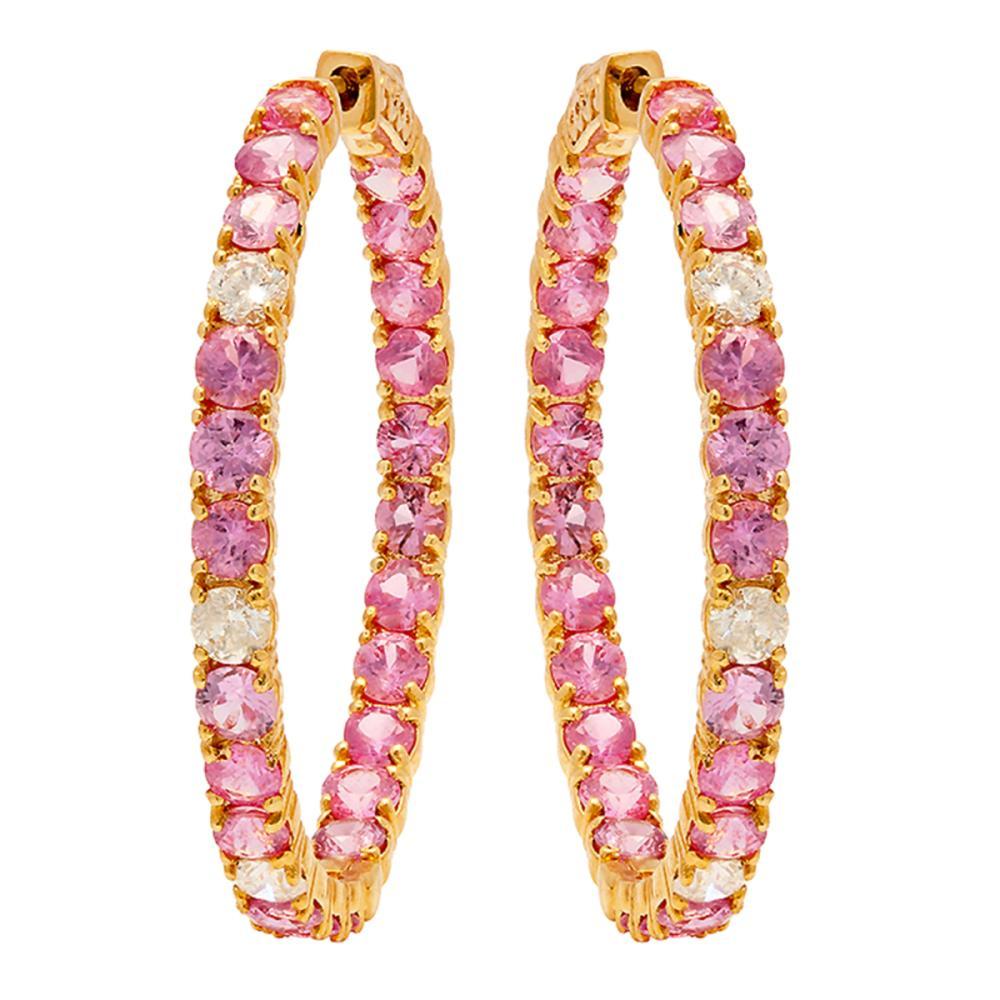 14k Yellow Gold 8.21ct Pink Sapphire 0.87ct Diamond Earrings