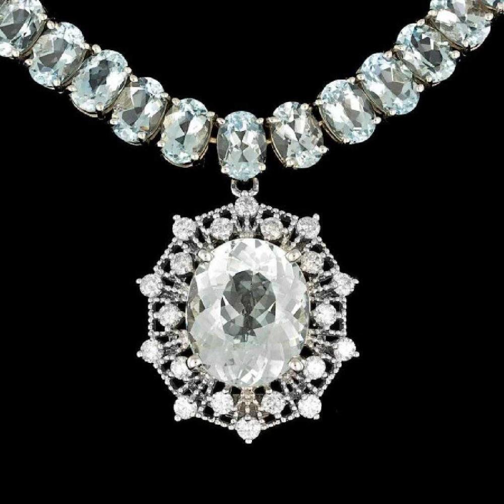 14K White Gold 60.80ct Aquamarine and 1.35ct Diamond Necklace