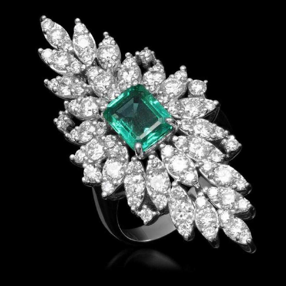 14K White Gold 2.01ct Emerald and 3.26ct Diamond Ring