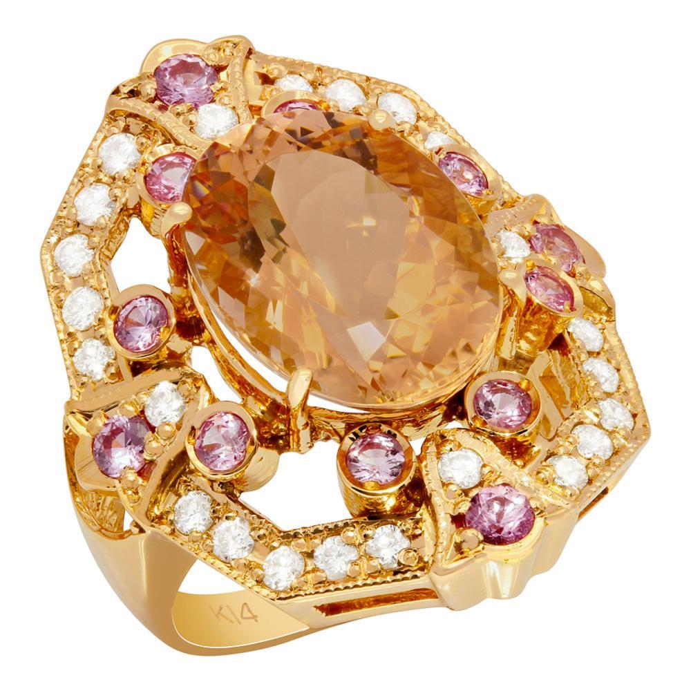 14k Rose Gold 7.27ct Morganite 0.75ct Pink Sapphire 0.59ct Diamond Ring