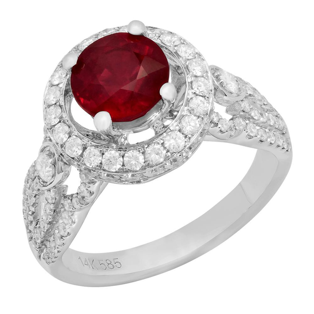 14k White Gold 1.94ct Ruby 0.97ct Diamond Ring