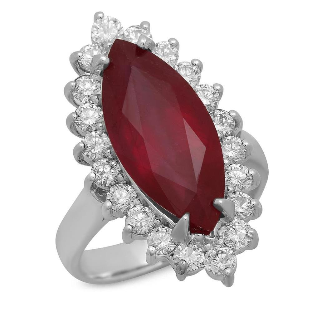 14K White Gold 8.31ct Ruby and 1.47ct Diamond Ring