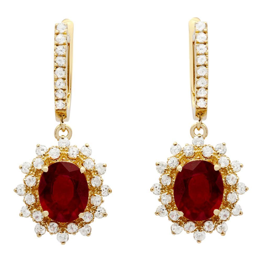 14k Yellow Gold 6.80ct Ruby & 1.35ct Sapphire 0.77ct Diamond Earrings