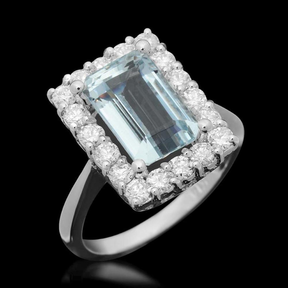 14K White Gold 3.50ct Aquamarine and 0.99ct Diamond Ring