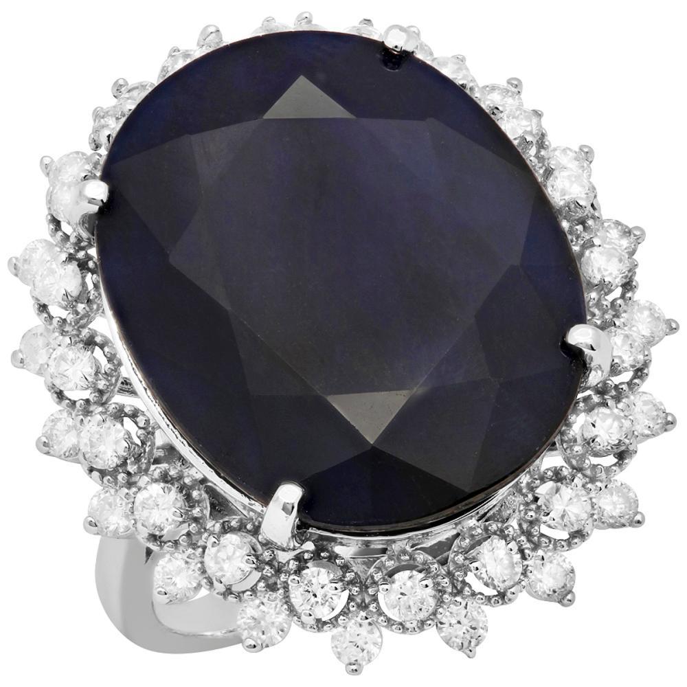 14k White Gold 24.37ct Sapphire 1.14ct Diamond Ring