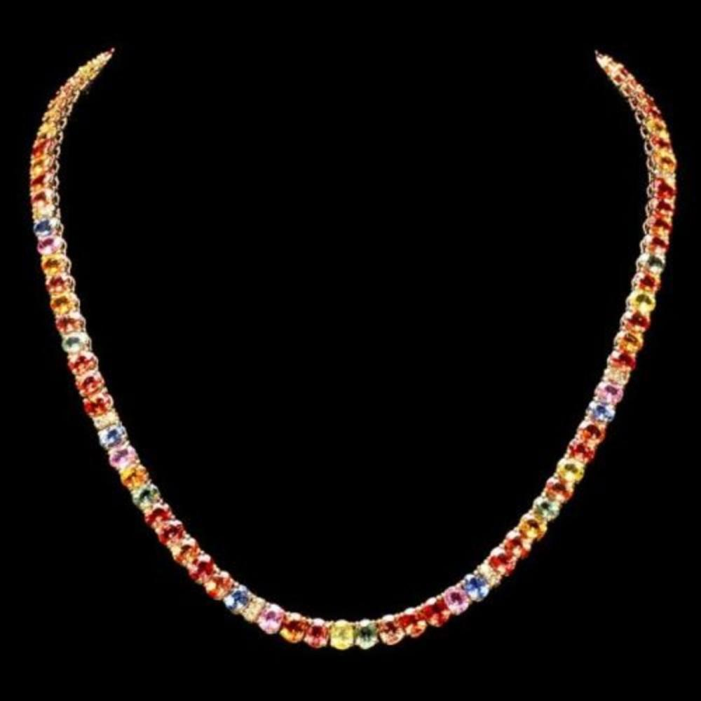 14K Yellow Gold 43.15ct Fancy Color Sapphire and 0.90ct Diamond Necklace