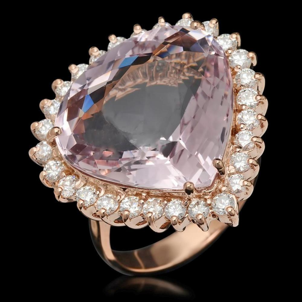 14K Rose Gold 17.03ct Kunzite and 1.26ct Diamond Ring