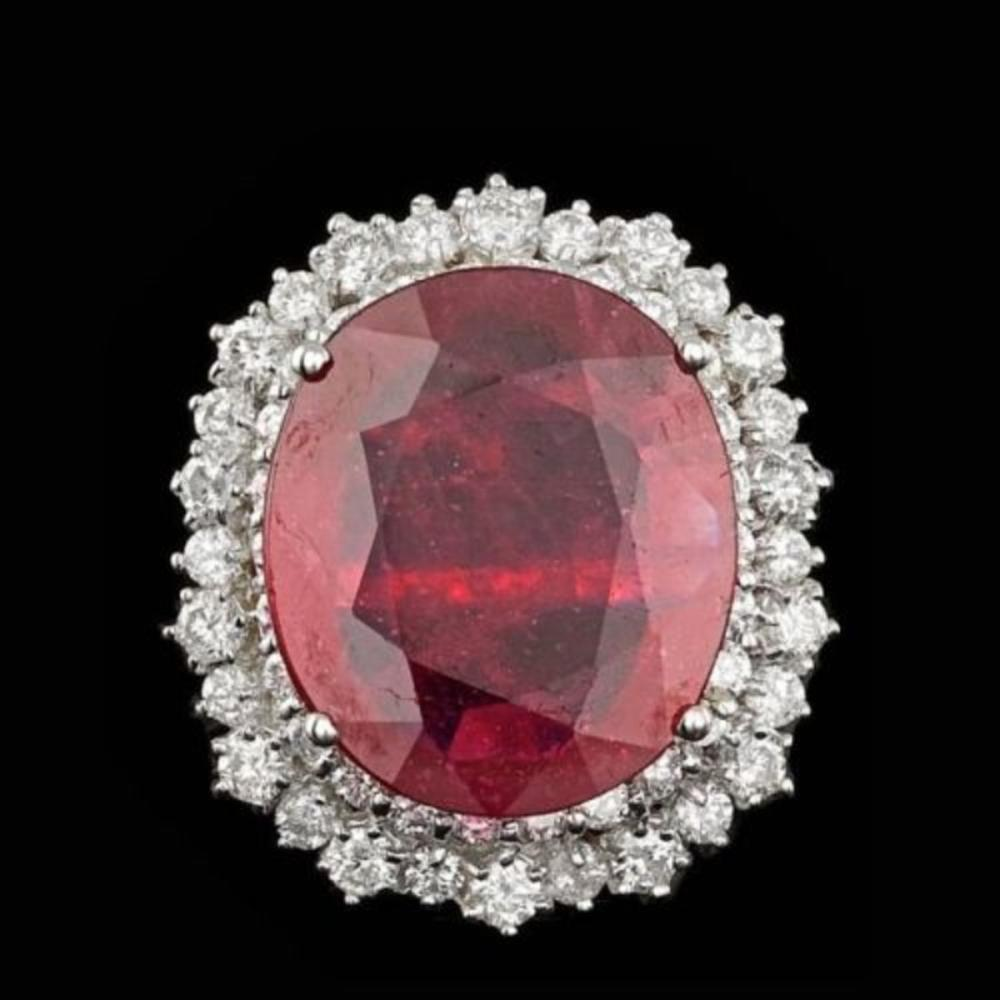 14K White Gold 10.69ct Ruby and 1.89ct Diamond Ring
